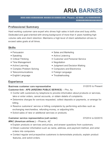 Business customer care representative resume template Arizona