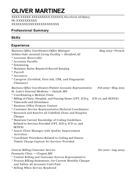 Business Office Coordinator resume sample Arizona
