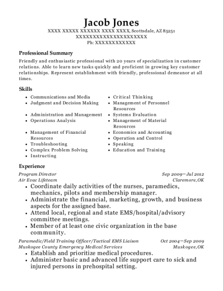 Program Director resume format Arizona