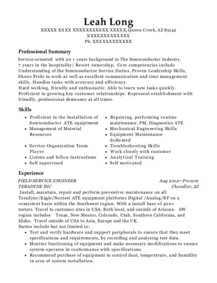 Field Service Engineer resume template Arizona