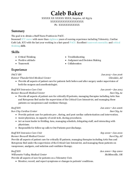 PACU RN resume example Arizona