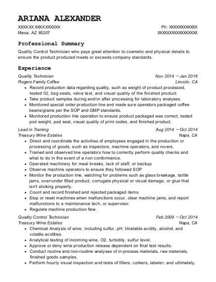 Quality Technician resume example Arizona