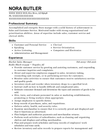 Market Sales Manager resume example Arizona