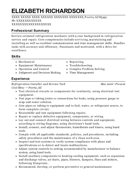 Refrigeration Installer and Service Tech resume format Arizona