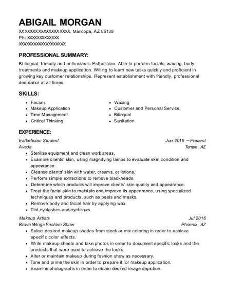 Esthetician Student resume sample Arizona