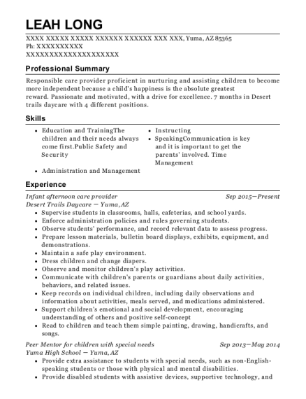 Infant afternoon care provider resume example Arizona