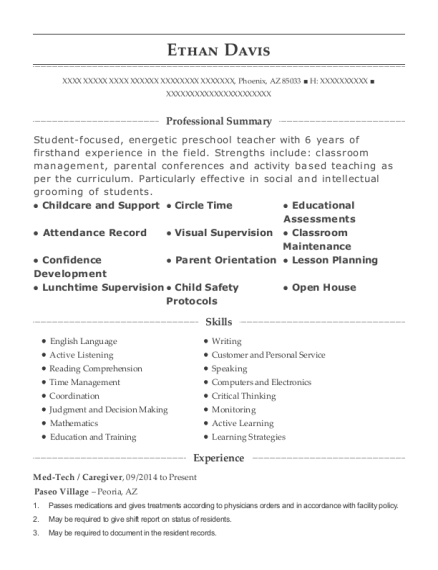 Med Tech resume example Arizona