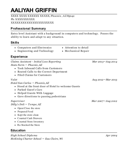 Claims Assistant Initial Loss Reporting resume sample Arizona