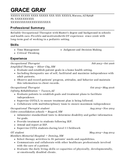 Best Occupational Therapist Resumes