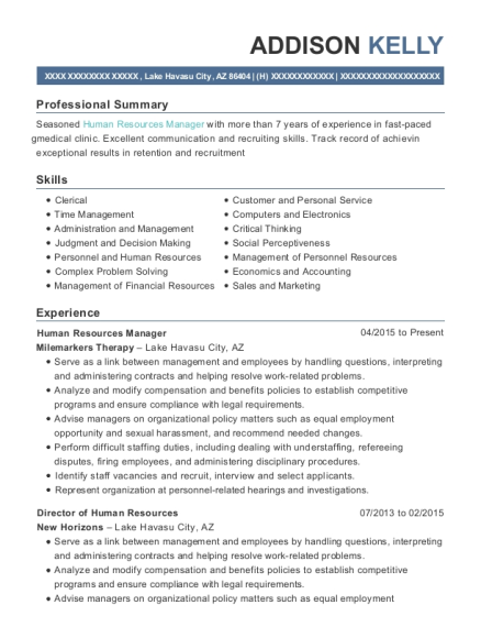 Human Resources Manager resume example Arizona