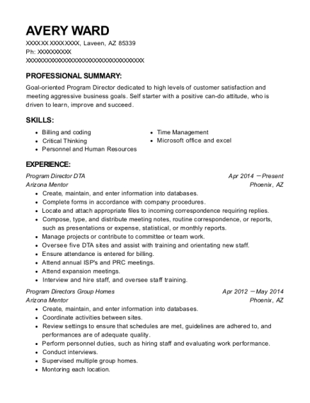 Program Director DTA resume format Arizona