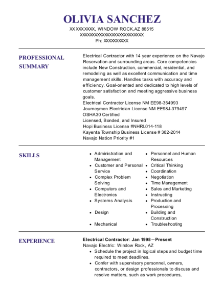 Electrical Contractor resume sample Arizona