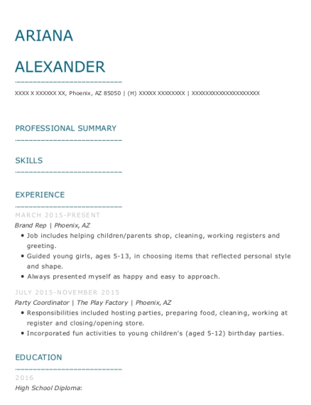 Brand Rep resume template Arizona