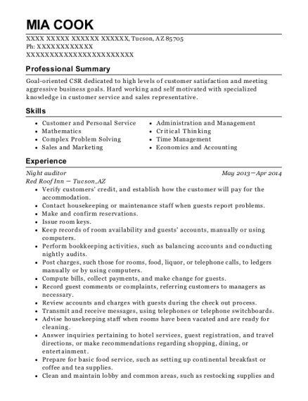 Night Auditor resume sample Arizona
