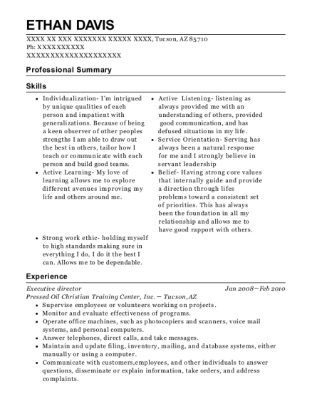Executive Director resume template Arizona
