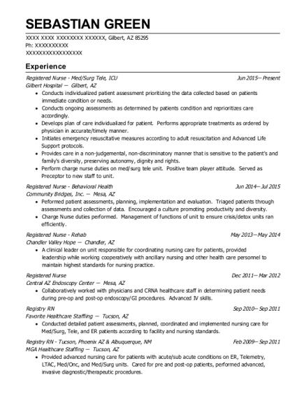 Registered Nurse Med resume template Arizona