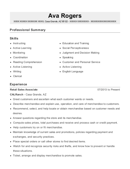 Retail Sales Associate resume format Arizona