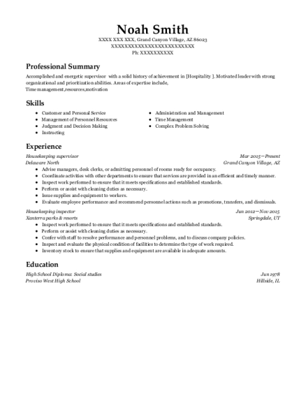 Housekeeping Supervisor resume sample Arizona