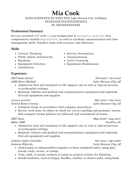 EMT basic driver resume format Arizona