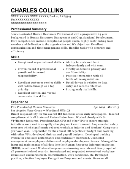 Vice President of Human Resources resume template Arizona