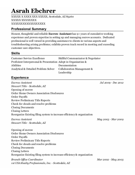 Escrow Assistant resume format Arizona