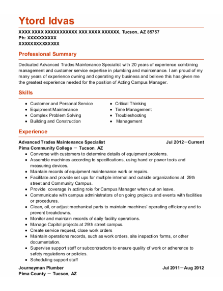 Journeyman Plumber resume format Arizona