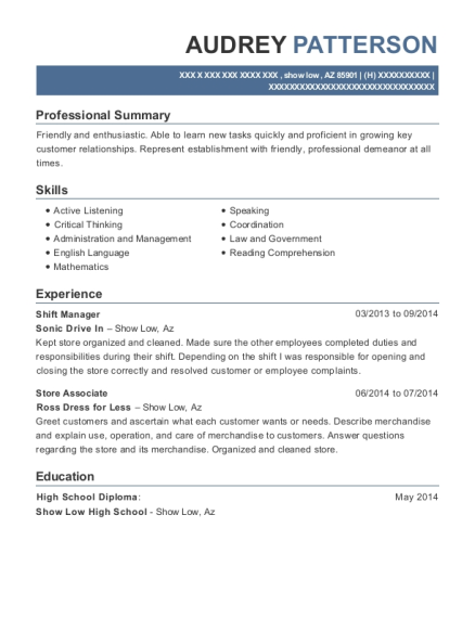 Shift Manager resume template Arizona