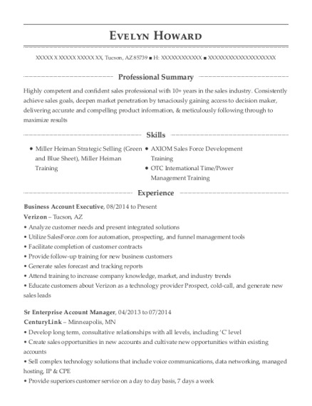 Business Account Executive resume template Arizona