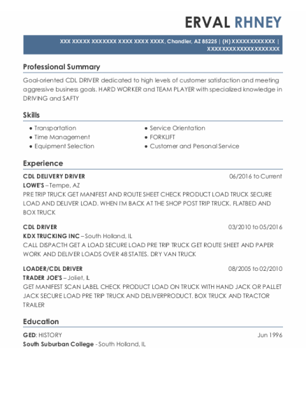 Cdl Delivery Driver resume example Arizona