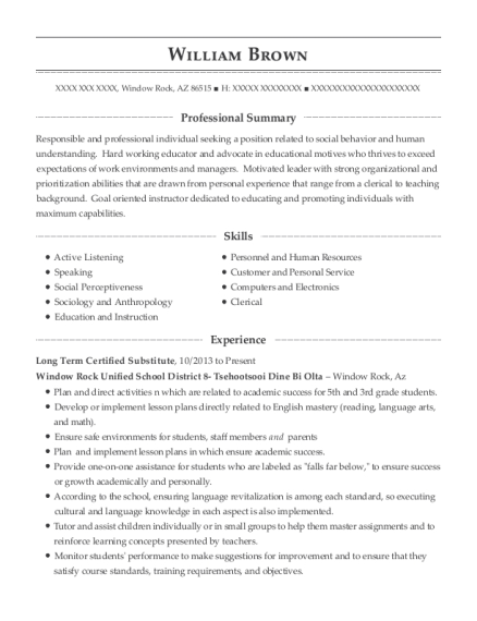 Long Term Certified Substitute resume sample Arizona