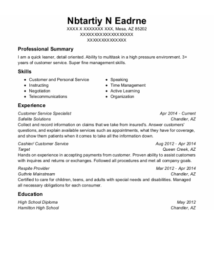 Customer Service Specialist resume template Arizona