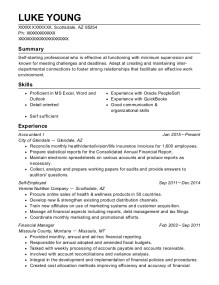 Accountant I resume template Arizona