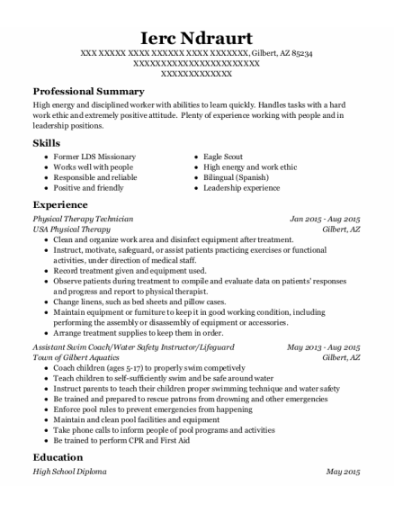 Physical Therapy Technician resume example Arizona