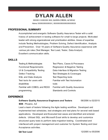 Software Quality Assurance Engineers and Testers resume sample Arizona