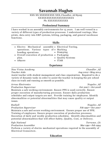 Teacher Aide resume sample Arizona