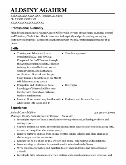 Animal Control Officer resume format Arizona