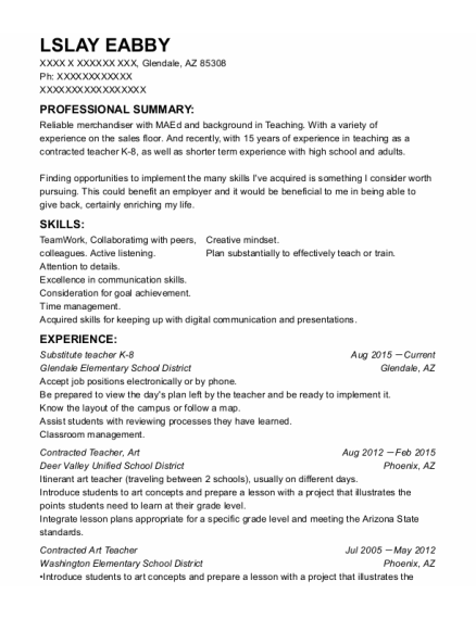 Art Teacher resume example Arizona