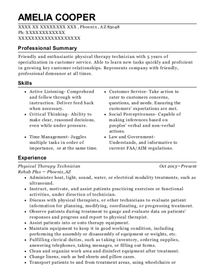 Physical Therapy Technician resume template Arizona