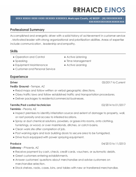 caballero pest control termite technician resume sample
