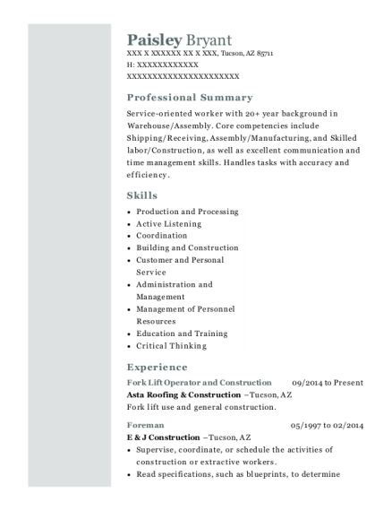 Fork Lift Operator and Construction resume template Arizona