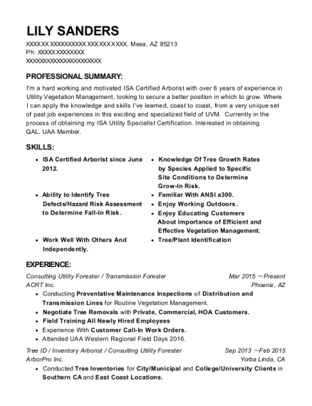 Consulting Utility Forester resume format Arizona