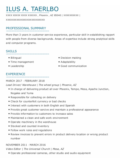 Lead Driver resume format Arizona