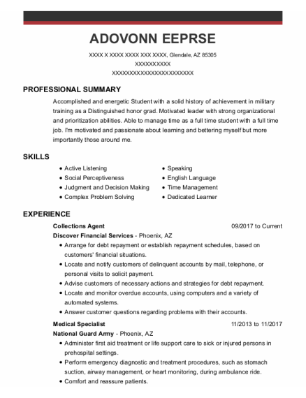 Collections Agent resume format Arizona