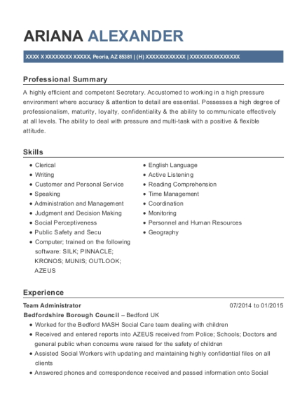 Team Administrator resume example Arizona