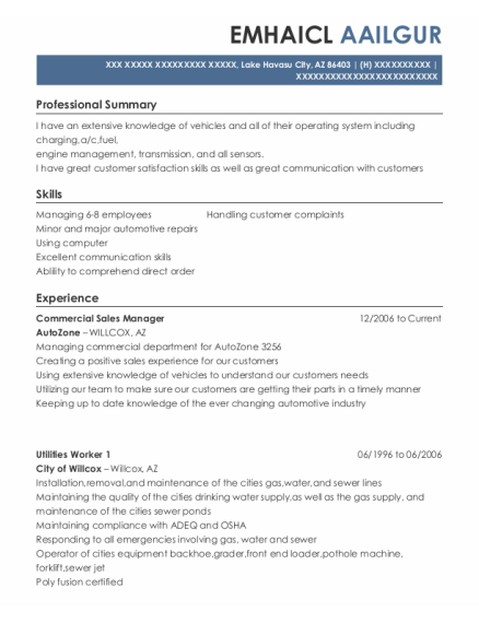 Commercial Sales Manager resume sample Arizona