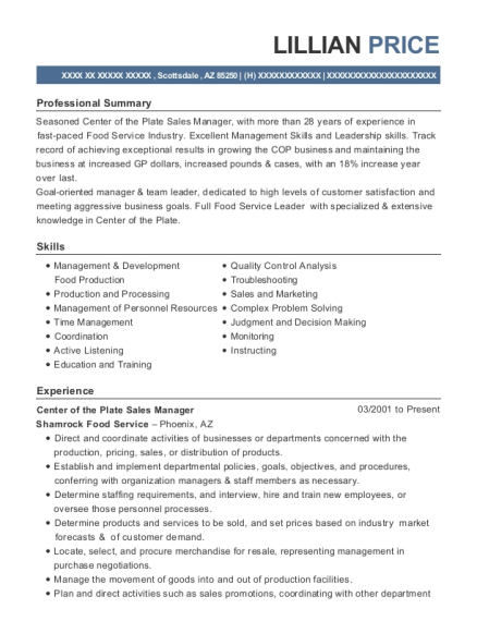 Center of the Plate Sales Manager resume template Arizona