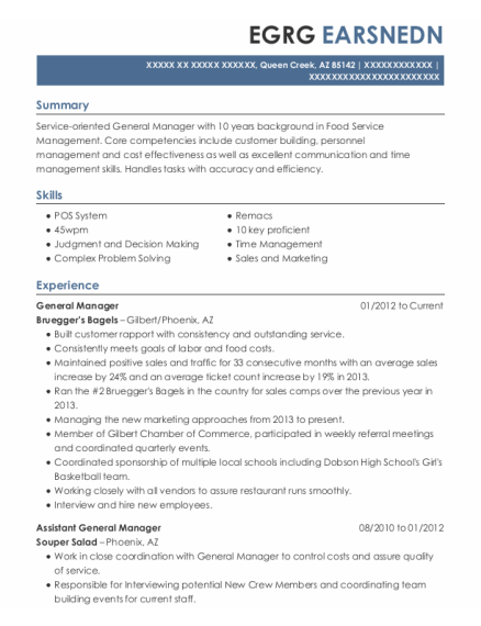 General Manager resume template Arizona