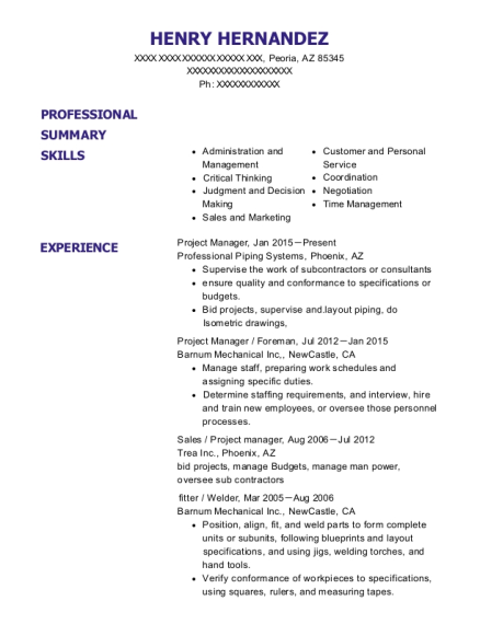 Project Manager resume example Arizona