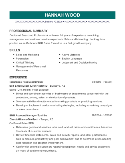 Insurance Producer resume format Arizona