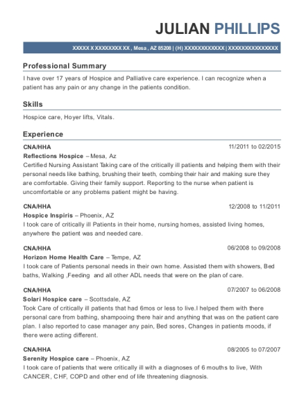 CNA resume template Arizona